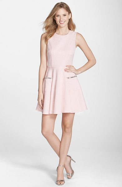 French Connection lickety split embellished pocket fit & flare dress in pink