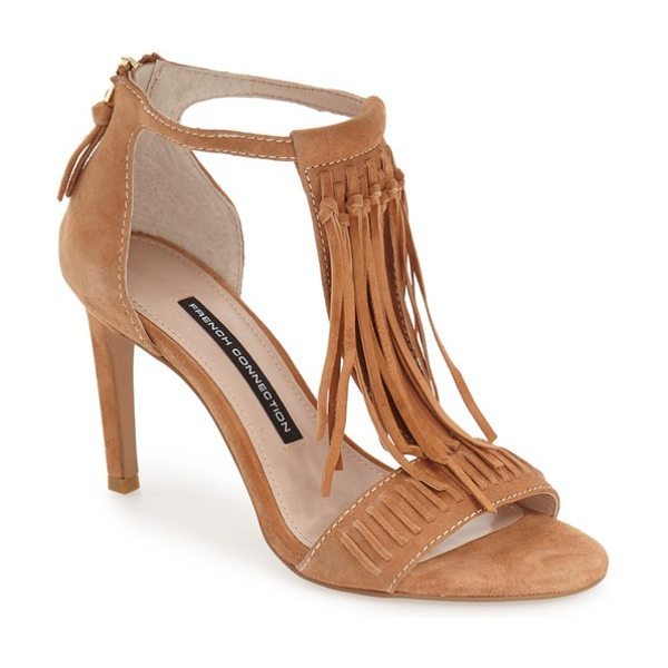 French Connection lilyana fringe t-strap sandal in safari sands leather - Swingy fringe adds a boho-chic vibe to a retro-inspired...
