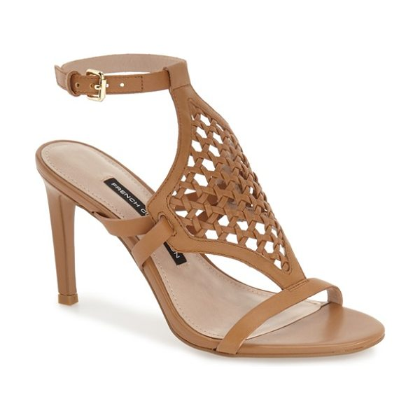 French Connection linny woven sandal in safari sands leather - A breezy, woven-leather vamp flatters the foot in a chic...