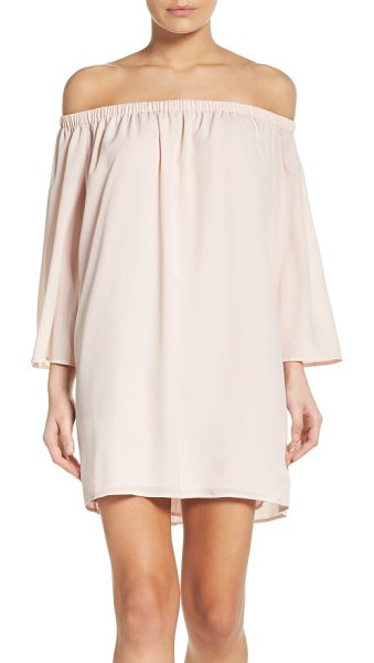 French Connection polly off the shoulder dress in capri blush - A flowy, flattering and versatile dress to get you...