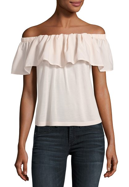 "French Connection Polly Plains Off-the-Shoulder Blouse in blush - French Connection ""Polly Plains"" gauze top with ruffle..."