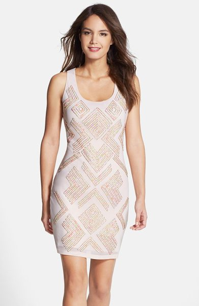 FRENCH CONNECTION sequin jersey sheath dress - Playful multicolored sequins in a trendy geometric...