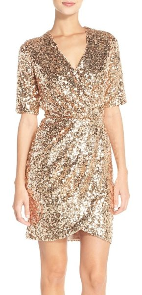 French Connection sequin mesh faux wrap dress in pale gold - A dazzling array of light-catching sequins defines a...