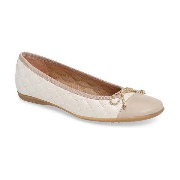 French Sole 'passport' flat in light taupe/ ice leather - Lustrous patent toe cap styles a quilted leather flat...