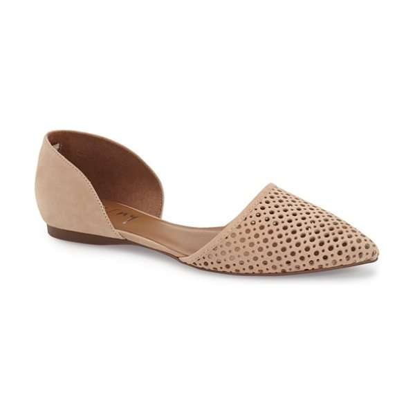 FRENCH SOLE 'quotient' d'orsay flat in desert nubuck - Geometric perforations and a svelte d'Orsay profile add...