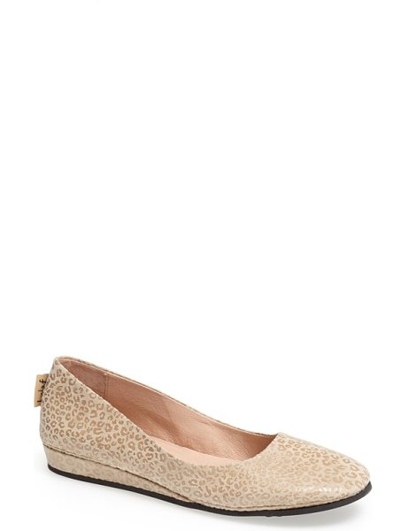 French Sole zeppa wedge in oyster - Supple leather shapes a comfy ballet flat updated with a...