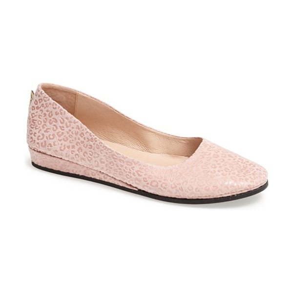 French Sole zeppa wedge in pink - Supple leather shapes a comfy ballet flat updated with a...