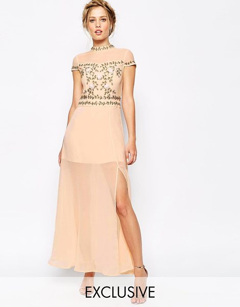 Frock And Frill 3d applique embellished bodice maxi dress with thigh split in soft pink - Evening dress by Frock and Frill Semi sheer finish High...