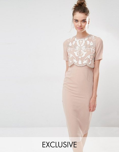 """Frock And Frill Embellished Overlay Pencil Dress in brown - """"""""Pencil dress by Frock and Frill, Lined woven fabric,..."""