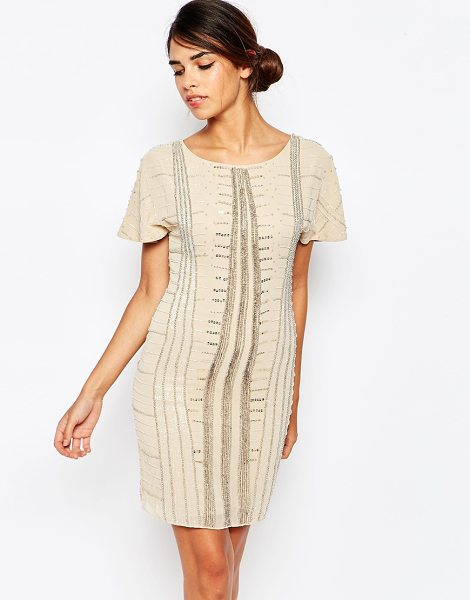 Frock And Frill Embellished shift dress with fluted sleeves in nudegoldembellishe - Dress by Frock and Frill Woven fabric Sequin and bead...