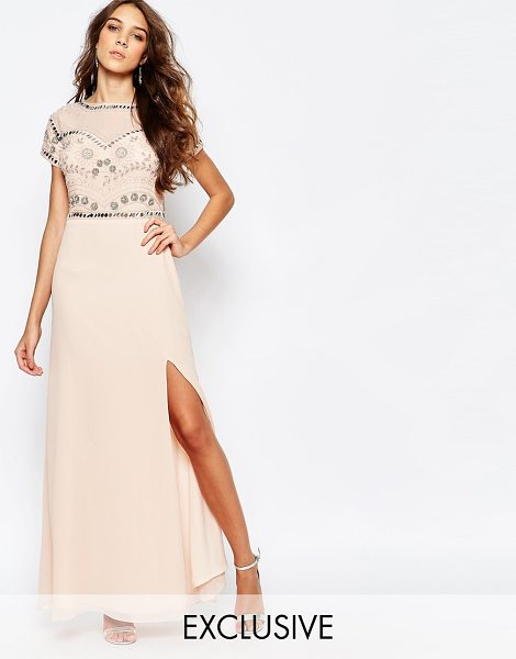 FROCK AND FRILL Embellished Sweetheart Maxi Dress With Thigh Split in pink - Maxi dress by Frock and Frill, Chiffon fabric, Crew...