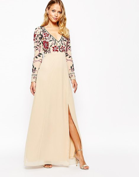 Frock And Frill Floral embellished thigh split maxi dress with plunge neck and back in creampink - Evening dress by Frock and Frill, Smooth woven fabric,...