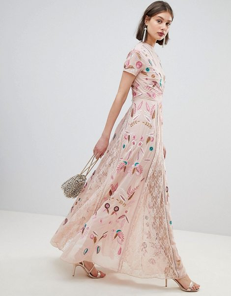 Frock And Frill allover embroidered plunge front maxi dress in pink