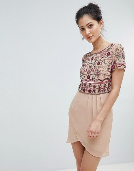 Frock And Frill wrap front mini dress with embellishment in nude