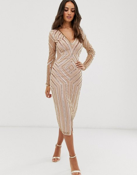 Frock And Frill frock & frill embellished v neck long sleeve midi dress-gold in gold