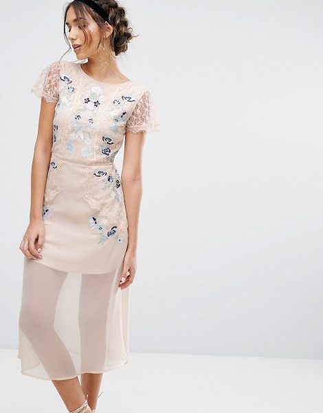 """FROCK AND FRILL Frock & Frill Embroidered Paneled Midi Dress - """"""""Midi dress by Frock and Frill, Embroidered lace,..."""