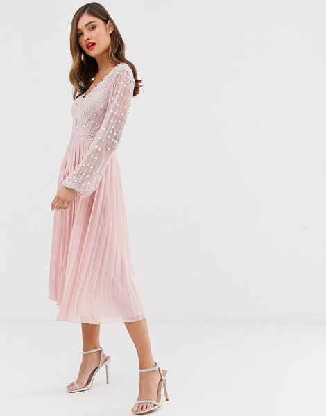 Frock And Frill frock & frill long sleeve pleated midi dress with embellished upper in blush
