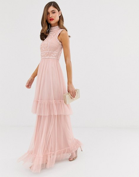 Frock And Frill frock & frill tulle layered maxi dress with embellished detail in blush