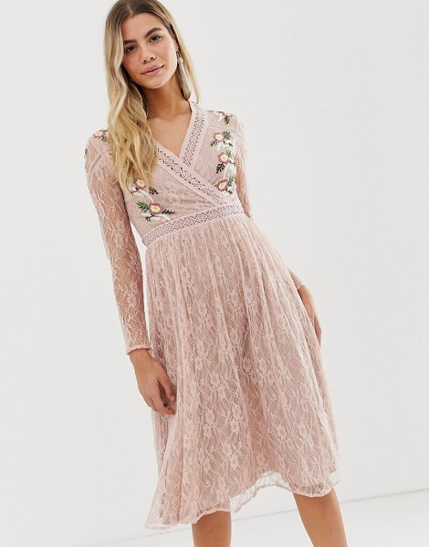 Frock And Frill prairie lace midi dress with embroidered wrap front in soft rose-pink in pink