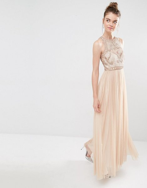 Frock And Frill Tulle Maxi Dress With Embellished Bodice in pink - Maxi dress by Frock and Frill, Embellished top, High...
