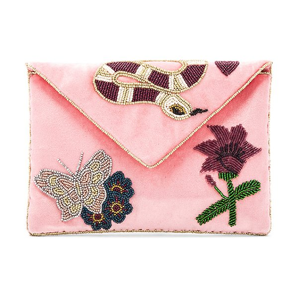 "FROM ST XAVIER Gabby Clutch - ""Velvet textile exterior with poly fabric lining. Flap..."