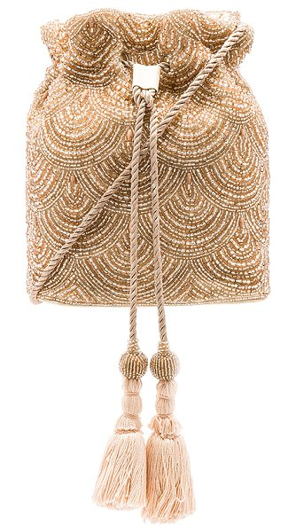 "FROM ST XAVIER Nevada Drawstring Bag in pink - ""Poly fabric exterior and lining. Bead embellished..."