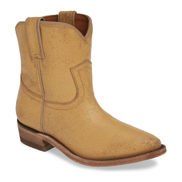 Frye billy bootie in beige - Classic topstitch details add Western style to a...