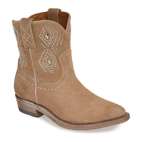 Frye billy stud short western boot in beige - Well-oiled, distressed leather defines this handcrafted...