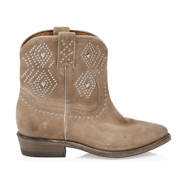 Frye billy studded suede short cowboy boots in tan - Glinting stud embellishments accent these Western-chic...