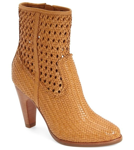 Frye celest woven bootie in tan leather - Soft vintage leather is woven together in a delicate,...