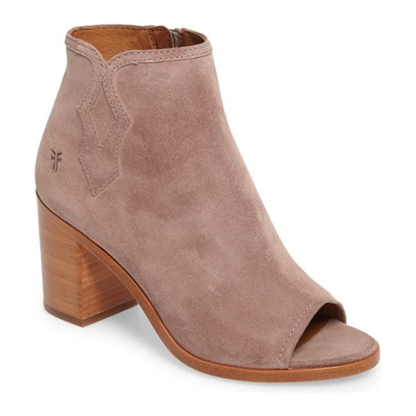 Frye danica peep toe bootie in dusty rose - Western-inspired side stitching and a flirty open-toe...