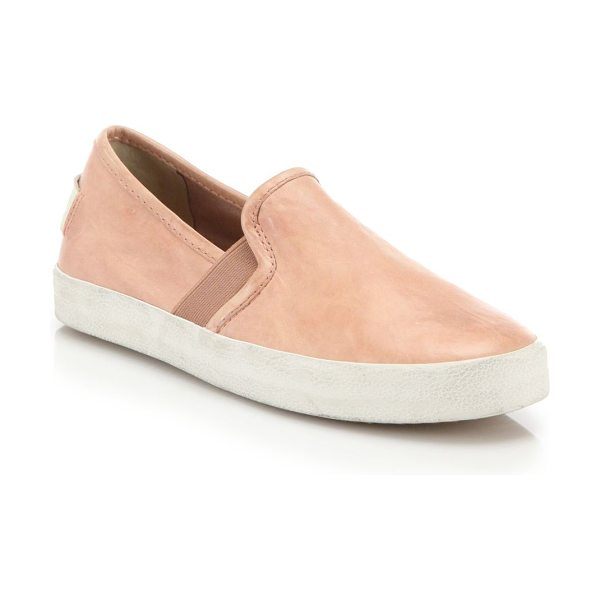 Frye dylan suede slip-on sneakers in peach - Distressed suede refines classic slip-on sneakers. Suede...