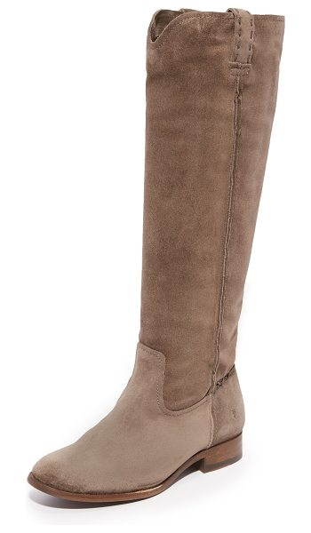Frye cara tall boots in elephant - Frye riding boots made from luxe suede. Raised seams and...