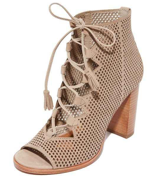 Frye gabby perf ghillie open toe booties in taupe - Perforated leather Frye open-toe booties styled with...