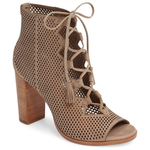 Frye gabby perforated ghillie lace sandal in taupe - Latticed perforations and an open top bridged by...