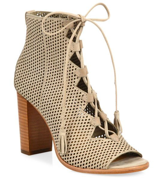Frye gabby perforated ghillie lace-up nubuck sandals in taupe - Perforated nubuck sandals in classic lace-up design....