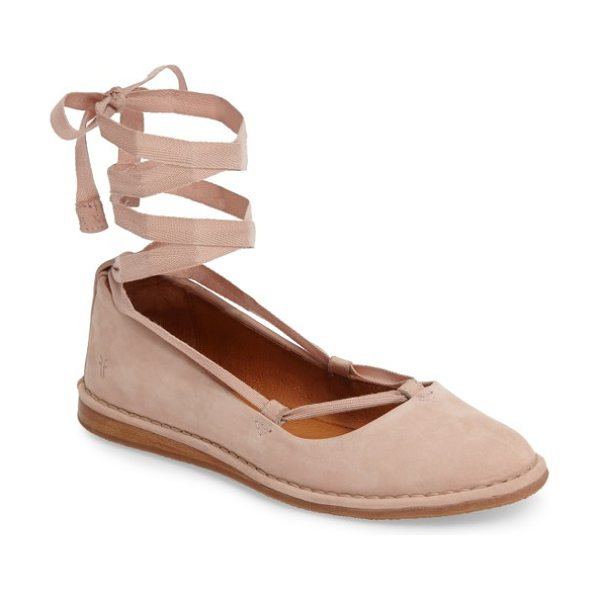 Frye helena ankle wrap flat in blush - Soft ballet laces wrap your ankle above a pretty,...