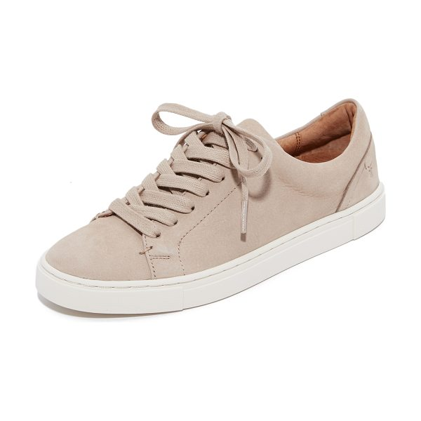 Frye ivy low lace sneakers in taupe - These luxe nubuck Frye sneakers have a classic look with...