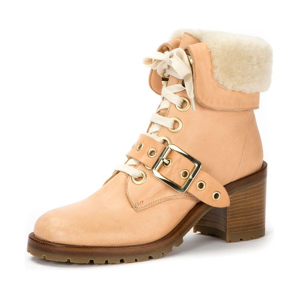 Frye Kay Shearling Lace-Up Boot in neutral - Frye leather boot with dyed sheep shearling (Uruguay)...