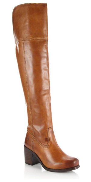 Frye Kendall leather over-the-knee boots in cognac - Burnished detail enriches this classically tailored...