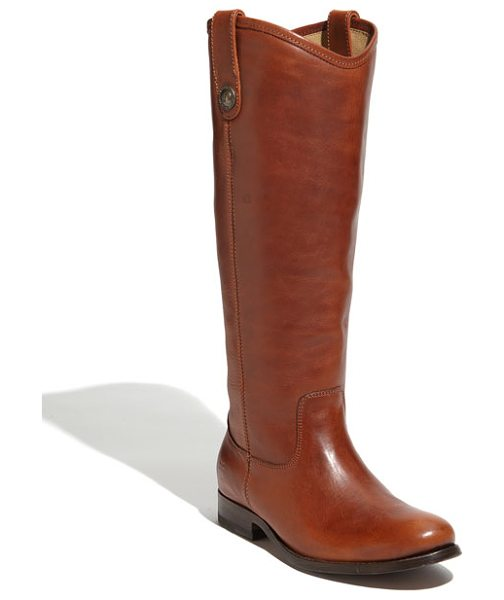 Frye 'melissa button' boot in cognac leather extended calf - Button-accented pull tabs top a handcrafted riding boot...