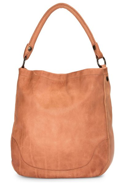 Frye melissa leather hobo bag in dusty rose - Rich distressed leather shaped in slouchy shoulder...