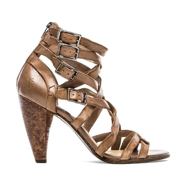 "Frye Mika strappy heel in taupe - Leather upper with rubber sole. Heel measures approx 4""""..."