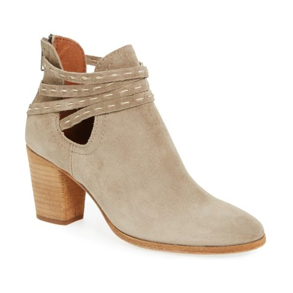 Frye naomi bootie in ash taupe leather - Hand pickstitched wraparound straps bridge the low-side...