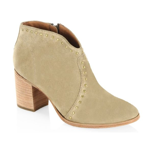 Frye nora studded suede ankle boots in sand - Fashionable ankle boots highlighted by crystal studs....