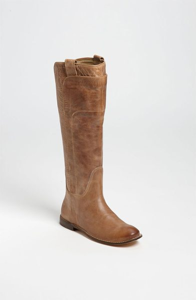 Frye paige tall leather riding boot in tan antiqued leather - Overlaid leather shapes a hand-burnished riding boot...