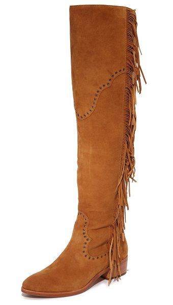 Frye ray fringe over the knee boots in camel - Fringe and grommets add a western feel to these suede...
