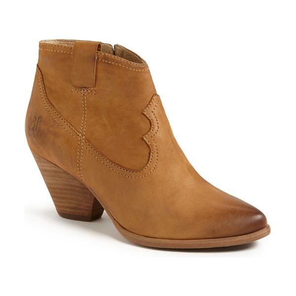 Frye reina bootie in camel - A blocky heel and almond toe amp up the versatility of a...
