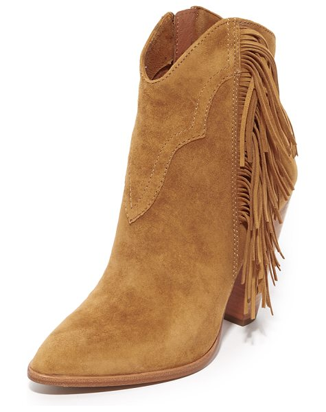 Frye remy fringe short booties in camel - Fringe and topstitching add a western flair to these...