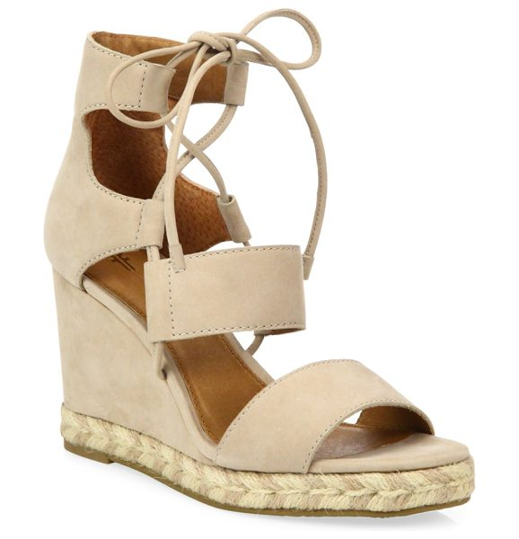 Frye roberta ghillie nubuck leather wedge sandals in taupe - Attractive wedge heel on ghillie tie leather sandals....